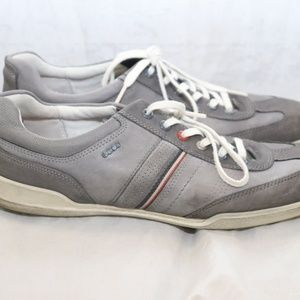 ECCO Mens Gray White Lace Up Sneakers Shoes
